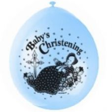 "10 'Baby's Christening' Blue 9"" Assorted Colour Balloons"